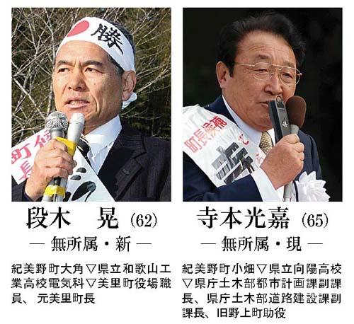 紀美野町長選告示、現職新人一騎打ち