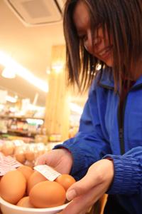 貴志川町産の卵を並べる店員