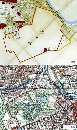 江戸時代の紀州藩領㊤がほぼそのまま敷地となっている赤坂御用地(和歌山市立博物館提供)