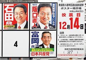 和歌山2区各候補のポスター