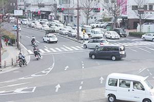矢印の交通整理により重大事故が減少した西汀丁交差点