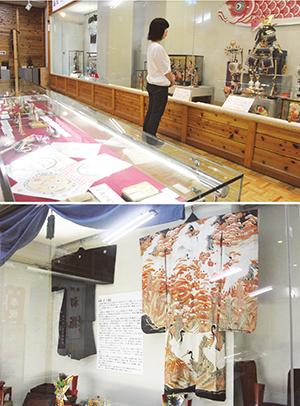 行事で使われていた道具が並ぶ㊤、初展示の花嫁衣装と紋付き袴