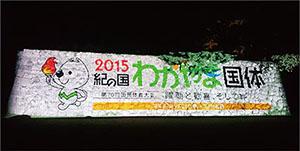 石垣に映し出された国体ロゴ(砂の丸広場)