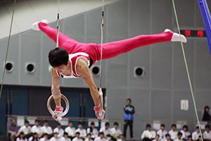 力強いつり輪演技を披露する県選手