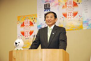 緊急速報メールについて発表する仁坂知事