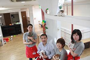 「猫たちとの触れ合いを楽しんで」とスタッフ(左から2人目が田添社長)