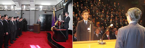 訓示を述べる直江本部長㊨=写真左、仁坂知事㊨に決意表明する稲内主任
