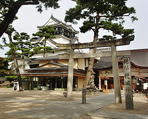 家康公を祭る「龍城神社」。奥に岡崎城を望む。