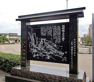 二十七曲りを紹介する石碑(名鉄岡崎公園前駅)