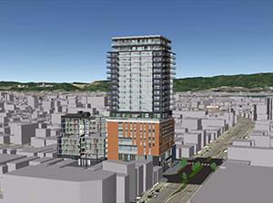 高層ビルの完成イメージ(四丁目再開発提供)