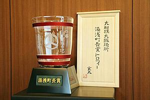 特注品の優勝カップ(湯浅町提供)