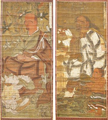 絹本著色十六羅漢像(県教委提供)