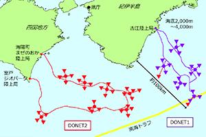 紀伊水道沖に拡大されたDONETの観測網(県提供)
