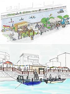 芝生を設置した滞留拠点㊤、仮設桟橋のイメージ(和歌山市提供)