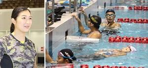 和歌山の印象を話す池江選手㊧と、練習する日本代表チーム(奥が山本選手)