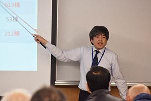 防災気象情報を解説する松田さん
