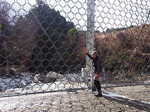 梅本地区で起きた土砂災害現場の防御ネット