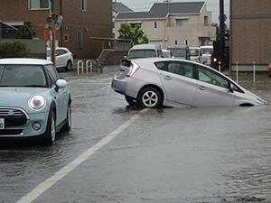 道路と田んぼの境が見えなくなり、突っ込んだ車(和歌山市神前、午前8時15分ごろ)