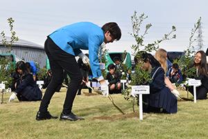 木を植える日本の生徒と外国の高校生たち