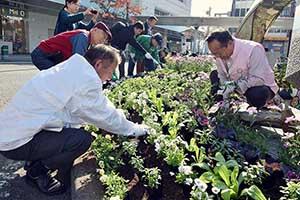 苗を植える会員ら