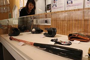 展示されている筒香選手のバット