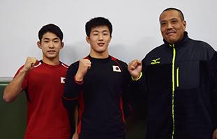 アメリカ遠征団に選ばれた(左から)谷口君、内田君、室谷監督