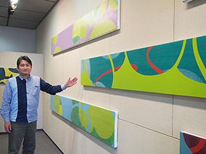 楽しい横長の作品と湯川さん