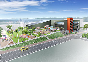 敷地東側から見た新施設のイメージ