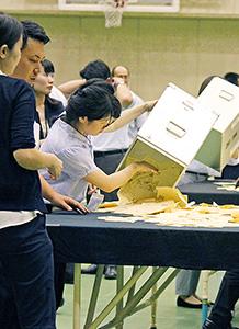 開票作業は県内30市町村で行われた(海南市)