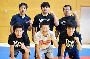 北林(前列左)、串野(後列右)らグレコローマンの入賞メンバー