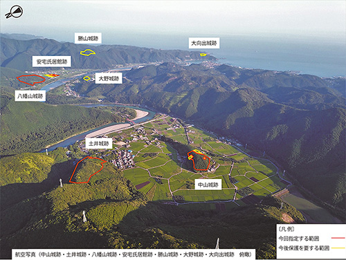 安宅氏城館跡の航空写真(白浜町提供)