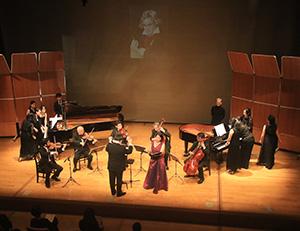 ベートーベンの肖像が映し出された会場に「歓喜の歌」が響く