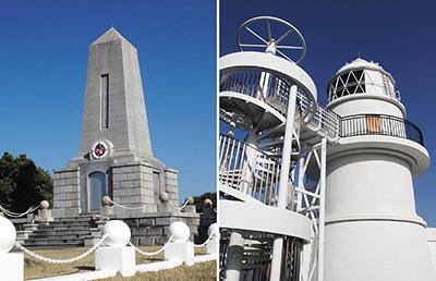 遭難者墓地(左、県教委提供)と樫野埼灯台