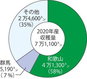 梅の都道府県別収穫量割合