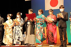 新成人の代表はマスクやマウスシールドを着用(和歌山市)