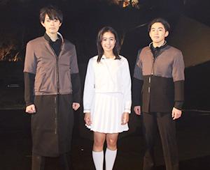 主人公の高校生を演じる(左から)中西さん、土井さん、藤田さん