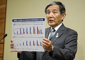 県内の感染状況について説明する仁坂知事
