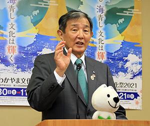 ライフライン点検について説明する仁坂知事